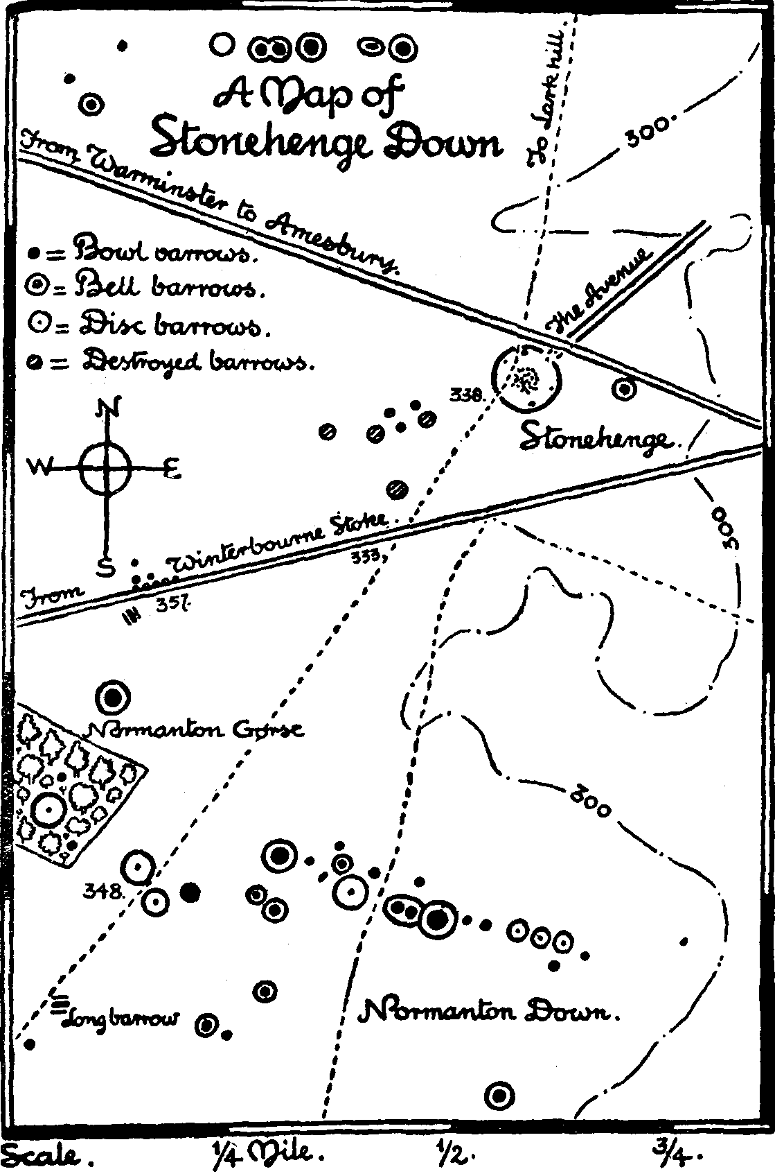 Map of Stonehenge Down Salisbury Plain